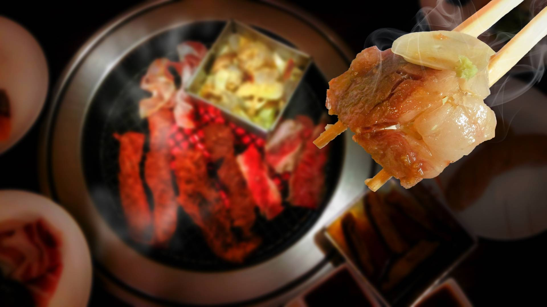 Canva - Matsusaka Beef Meat grilled On the chopsticks fit mouth on charcoal stove and marinated pork ,beef slices with ingredients for cooking grilled BBQ Korean and Japanese food , Recommended dishes in Asia (1)